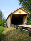 Pittsford, Rutland County, Vermont, USA: Depot Covered Bridge across Otter Creek - Town lattice truss - photo by G.Frysinger