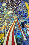 Milwaukee, Wisconsin, USA: General Mitchell International Airport - mosaic - celebrations - man on stilts - MKE - photo by M.Torres