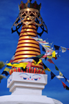El Rito, New Mexico, USA: Kagu Mila Guru Stupa - Harmika with umbrella crown decorated with prayer flags - photo by M.Torres
