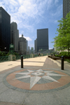 Chicago, Illinois, USA: wind rose on the parkway along the Chicago river, a few blocks from lake Michigan - photo by C.Lovell