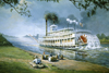 Memphis, Tennessee, USA: mural of river boat on the Mississippi - paddlewheeler - photo by C.Lovell