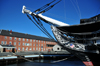 Boston, Massachusetts, USA: Charlestown Navy Yard - prow and bowsprit of USS Constitution and visitor center - photo by M.Torres