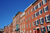 Boston, Massachusetts, USA: Charlestown - red brick façades on Adams St - The Training Field at Winthrop Square - beautiful old-style neighborhood - photo by M.Torres