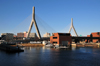 Boston, Massachusetts, USA: Leonard P. Zakim Bunker Hill Memorial Bridge - cable-stayed bridge across the Charles River - marine police building between the towers - North End - photo by M.Torres