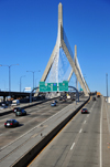 Boston, Massachusetts, USA: Leonard P. Zakim Bunker Hill Memorial Bridge - one of the widest cable-stayed bridges in the world - Interstate 93, US 1 - seen form Portal Park - named after a Jewish civil rights activist - photo by M.Torres