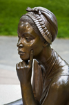 Boston, Massachusetts, USA: poet Phillis Wheatley at the Boston Women's Memorial honors historical figures and is located in the parkway along Commonwealth Avenue - sculptor Meredith Bergmann - Back Bay - photo by C.Lovell