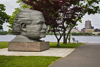Boston, Massachusetts, USA: a statue of Austrian-American conductor Arthur Fiedler, of the Boston Pops Orchestra in Charles River Park - Back Bay - photo by C.Lovell