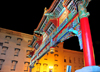 Washington, D.C., USA: Chinatown Gateway Arch - seven-roof Chinese arch designed by Alfred Liu - H Street NW - nocturnal - Friendship Archway - photo by M.Torres