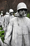 Washington, D.C., USA: Korean War Veterans Memorial - US Army lead scout and other soldiers with ponchos - stainless steel sculptures - West Potomac Park - National Mall - photo by M.Torres