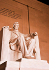 Washington, D.C., USA: Lincoln Memorial - throne - the 16th president in his royal posture - statue carved by the Piccirilli brothers, under the supervision of the sculptor Daniel Chester French - photo by M.Torres