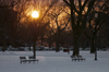 Washington, D.C., USA: a winter sunset, park benches and snow on the National Mall - photo by C.Lovell
