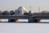 Washington, D.C., USA: winter scene - Kutz Bridge and the Jefferson Memorial, honoring Thomas Jefferson - architect John Russell Pope - neoclassical style - Tidal Basin - photo by C.Lovell