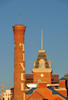 Denver, Colorado, USA: red brick smokestack and mansard tower of the former Tivoli Brewery Company - Tivoli Student Union - Auraria Campus - photo by M.Torres