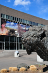 Denver, Colorado, USA: Colorado History Museum - Baby Doe Tabor mural and bronze buffalo, sculpture 'On the wind', by T.D. Kelsey - Broadway, Civic Center - photo by M.Torres