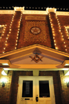 Littleton, Colorado, USA: Masonic Temple - brick façade - nocturnal - photo by M.Torres