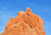 Colorado Springs, El Paso County, Colorado, USA: Garden of the Gods - 'Sleeping Gian' - old man's head silhouette - red sandstone, after which the state is named - photo by M.Torres