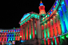 Denver, Colorado, USA: Denver City and County Building - Christmas lights - curved wings with colonnades of Ionic columns - Allied Architects, Robert K. Fuller and Associated Architects - photo by M.Torres