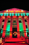 Denver, Colorado, USA: Denver City and County Building - Christmas lights, 'peace on Earth' - temple front with a monumental staircase, large pediment and Corinthian columns - photo by M.Torres