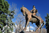 Denver, Colorado, USA: art in the Civic Center Park - sculpture 'On the War Trail' by Alexander Phimister Proctor - Indian warrior on horse - photo by M.Torres