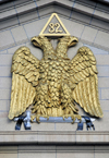 Denver, Colorado, USA: Scottish Rite Masonic Center - Sumerian Double Headed Eagle of Lagash with sword - emblem of the 32nd Degree in the tympanum - photo by M.Torres