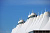 Denver, Colorado, USA: Denver International Airport - Elrey B Jeppesen terminal - tensile fiberglass roof supported by 34 steel masts, inspired in the snow-capped Rocky Mountains - designed by Curtis W. Fentress, of Fentress Bradburn Architects - photo by M.Torres