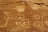 Mesa Verde National Park, Montezuma County, Colorado, USA: Petroglyphs, at the end of the Petroglyph Point Trail - hands and spirals - the latter represent a 'sipapu', the place where Pueblo people believe they emerged from the earth - photo by A.Ferrari