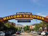 Golden, Jefferson County, Colorado, USA: welcome arch - 'Where the West Lives' - Ford Street - photo by M.Torres