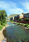 Golden, Jefferson County, Colorado, USA: Clear Creek - Vanover Park - Coors Brewery in the distance - photo by M.Torres