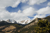 Rocky Mountain National Park, Colorado, USA: peaks seen from the Horseshoe Park area - Cumulus clouds - photo by M.Torres