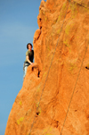 Colorado Springs, El Paso County, Colorado, USA: Garden of the Gods - climber on the edge of a hogback - photo by M.Torres