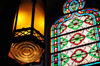 Santa F�, New Mexico, USA: Loretto Chapel - lantern and a French stained glass window - photo by M.Torres