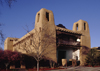Santa F�, New Mexico, USA: New Mexico Museum of Art - balcony on West Palace Avenue - Pueblo Revival Style architecture - architect Isaac Hamilton Rapp  - photo by C.Lovell