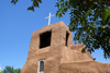 Santa F�, New Mexico, USA: San Miguel chapel - oldest church in the USA - adobe walls and altar built by the Spanish in 1610 using Tlaxcalan workers - Barrio De Analco Historic District - photo by A.Ferrari