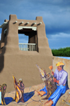 Taos, New Mexico, USA: Trompe l'Oeil painting over adobe tower - Taos Plaza - photo by M.Torres