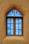 Pueblo de Taos, New Mexico, USA: decorated window of the San Geronimo Chapel - photo by M.Torres