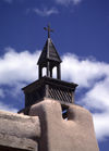 Las Trampas, Taos County, New Mexico, USA: Church of San José de Gracia - steeple of historical Spanish church in the Sangre de Cristo mountains - aka Church of Santo Tomas Del Rio de Las Trampas - adobe architecture - photo by C.Lovell