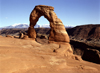 USA - Arches National Park (Utah): Delicate Arch - freestanding natural arch - shown in Utah license plates - attraction - landmark - near Moab - photo by J.Fekete