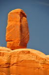 Arches National Park, Utah, USA: Park Avenue trail - natural menhir on the western wall of the canyon - photo by M.Torres