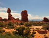 Arches National Park, Utah, USA: Balanced Rock and Entrada Sandstone fins - photo by M.Torres