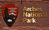 Arches National Park, Utah, USA: Arches NP sign and National Park Service logo at the park's entrance  - photo by M.Torres