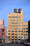 Minneapolis, Minnesota, USA:  Washburn Lofts - elegant brick building with water towers - former Washburn-Crosby South Mill A - architect Paul Madson - Park Ave. South and South 2nd St. - Downtown East - photo by M.Torres