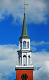 Burlington, Vermont, USA: spire of the Unitarian Church - First Unitarian Universalist Society of Burlington - architect Peter Banner - 152 Pearl Street - photo by M.Torres