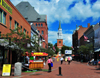 Burlington, Vermont, USA: view along the pedestrianised Church Street, Unitarian Church at the end - Burlington Town Center - photo by M.Torres