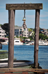 Portsmouth, New Hampshire, USA: portico for hanging big game fish - tug boats pier, Ceres St - Badgers Island, ME in the background - New England - photo by M.Torres