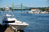 Portsmouth, New Hampshire, USA: view of the Piscataqua River from the Memorial Bridge - yacht,  Sarah Mildred Long Bridge and Piscataqua River Bridge - Badger island on the left - New England - photo by M.Torres