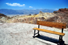 Death Valley National Park, California, USA: bench at Zabriskie Point - named after Christian Brevoort Zabriskie,  general manager of the Pacific Coast Borax Company - Amargosa Range - photo by M.Torres