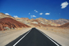 Death Valley National Park, California, USA: Artist Drive - asphalt and colorful hills - photo by M.Torres
