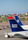 Phoenix, Arizona, USA: tails of US Airways aircraft - airliners at Sky Harbor International Airport - photo by M.Torres
