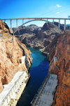 Hoover Dam, Clark County, Nevada, USA: Mike O'Callaghan – Pat Tillman Memorial Bridge - deck arch bridge spanning the Colorado River - U.S. Route 93, Hoover Dam Bypass - designed by T. Y. Lin International - photo by M.Torres