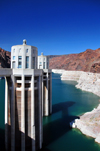Hoover Dam, Mohave County, Arizona, USA: intake towers of  what was the world's largest hydroelectric dam when completed in 1935 - penstock towers - Black Canyon of the Colorado River - photo by M.Torres